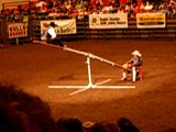 Couple of cowboys on a teeter totter dodge a bull at Midwest