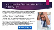 Getting A Car Loan While In Chapter 13 ,chapter 13 Bankruptcy Auto Loans