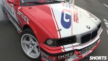 Drift.ro Shorts: BMW E36 with M5 engine street burnouts, donuts, drifting