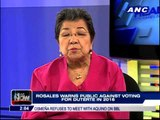 Rosales warns vs voting for Duterte in 2016