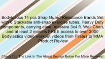 Bodylastics 14 pcs Snap Guard Resistance Bands Set with 6 Stackable anti-snap exercise tubes, Heavy Duty components, carrying case, massive 3x4 ft. Wall Chart, and at least 2 months FREE access to over 3000 Bodylastics video workout videos from Pilates to