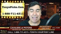 Detroit Pistons vs. Cleveland Cavaliers Free Pick Prediction NBA Pro Basketball Odds Preview 2-24-2015