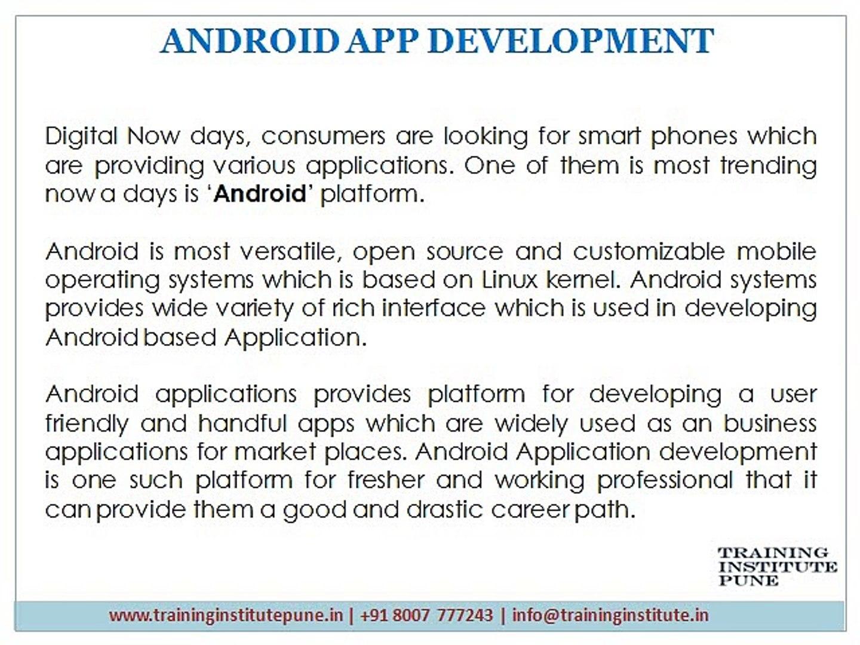 Android Development Classes Pune - Training Institute Pune