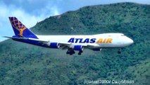 Boeing 747-400 and 747-8 Freighter Cargo Landing in Hong Kong Airport. Atlas Air Cargo and Polar Air Cargo