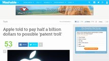 Apple Told to Pay Half a Billion Dollars to Possible 'patent Troll'
