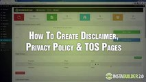 InstaBuilder 2.0 Tutorial 6 How To Create Disclaimer, Privacy Policy, TOS Page