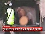 Manisa'da Mobese kamerasından park çeşmesinde yıkanan evsiz vatandaş ve ilginç kazalar