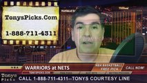 Brooklyn Nets vs. Golden St Warriors Free Pick Prediction NBA Pro Basketball Odds Preview 3-2-2015