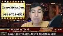 Texas Longhorns vs. Baylor Bears Free Pick Prediction NCAA College Basketball Odds Preview 3-2-2015