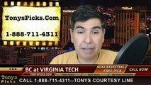 Virginia Tech Hokies vs Boston College Eagles Free Pick Prediction NCAA College Basketball Odds Preview 3-2-2015