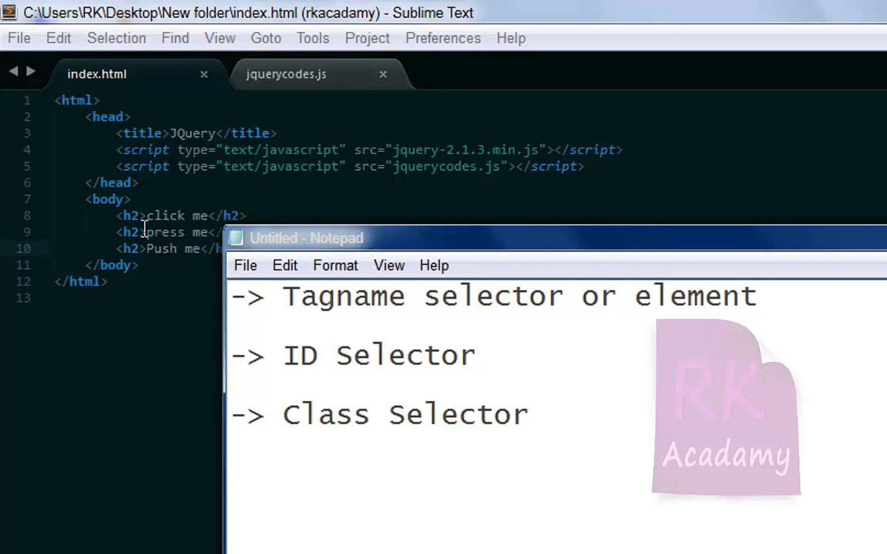 4  jQuery Id and class selectors