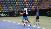 Coupe Davis 2015 - Gilles Simon et Gaël Monfils à l'entrainement avec le Capitaine Arnaud Clément