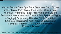 Vernal Repair Care Eye Gel - Removes Dark Circles Under Eyes, Puffy Eyes, Fine Lines, Crows Feet, Wrinkles, Puffiness | Best Anti Aging Eye Cream Treatment to Address and Correct Any Eye Area Signs of Aging | Proprietary Blend of Triple Peptides Complex,