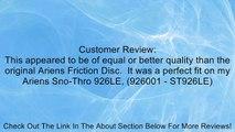 Silver Streak # 240394 Drive Disc for ARIENS 00300300, ARIENS 00170800, BOLENS 1720859, CASE Review