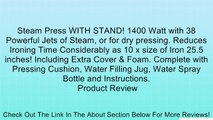 Steam Press WITH STAND! 1400 Watt with 38 Powerful Jets of Steam, or for dry pressing. Reduces Ironing Time Considerably as 10 x size of Iron 25.5 inches! Including Extra Cover & Foam. Complete with Pressing Cushion, Water Filling Jug, Water Spray Bottle