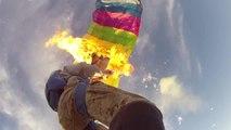 Parachute prend feu en chute libre