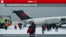 Plane Slipped into Snow Covered Run way - Plane Slipped