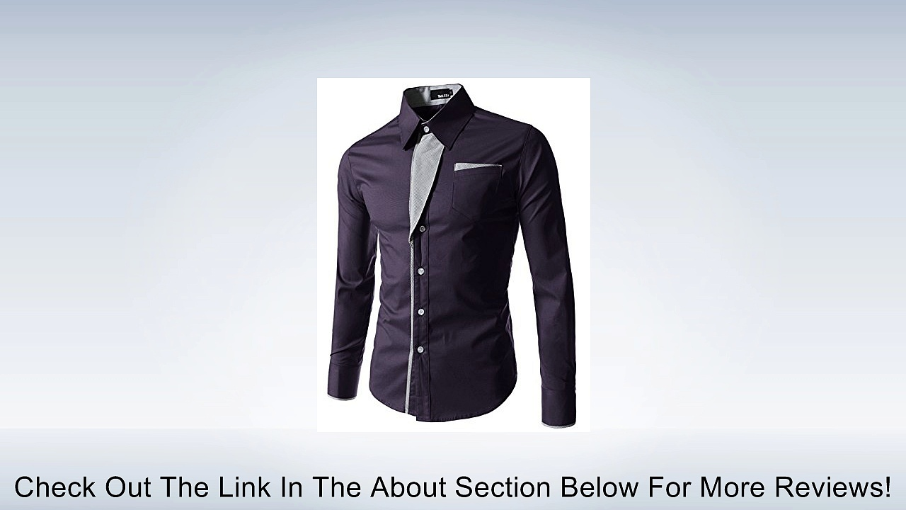 TheLees Mens Casual Long Sleeve Stripe Patched Fitted Dress Shirts Review