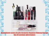 MelodySusie Luxury Acrylic Cosmetic Organizer Makeup Storage Box 20 sections with drawers