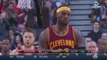 LeBron James tackled by Jonas Valanciunas during Cavaliers VS Raptors NBA game