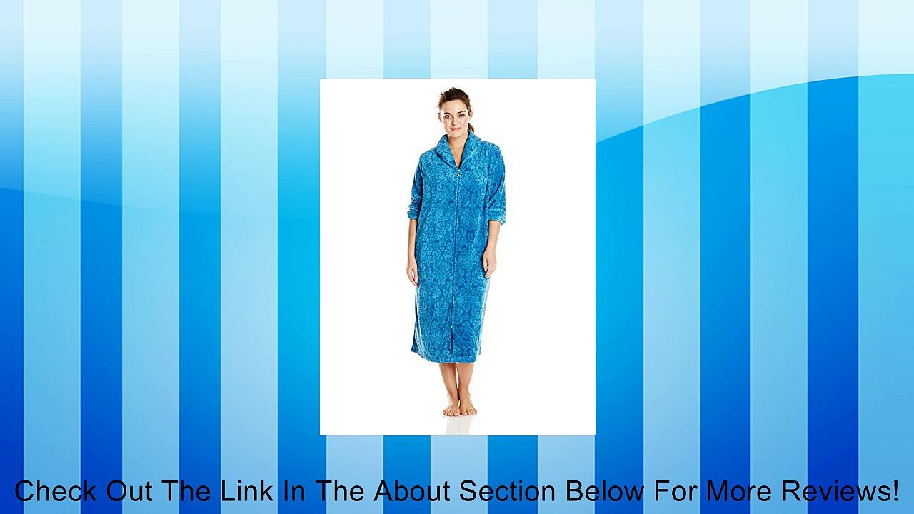 Karen Neuburger Women's Plus-Size Plus Sized 47 Inch Long Sleeved Zip Front Brocade Plush Robe In Teal, Brocade/Teal, 1X Review