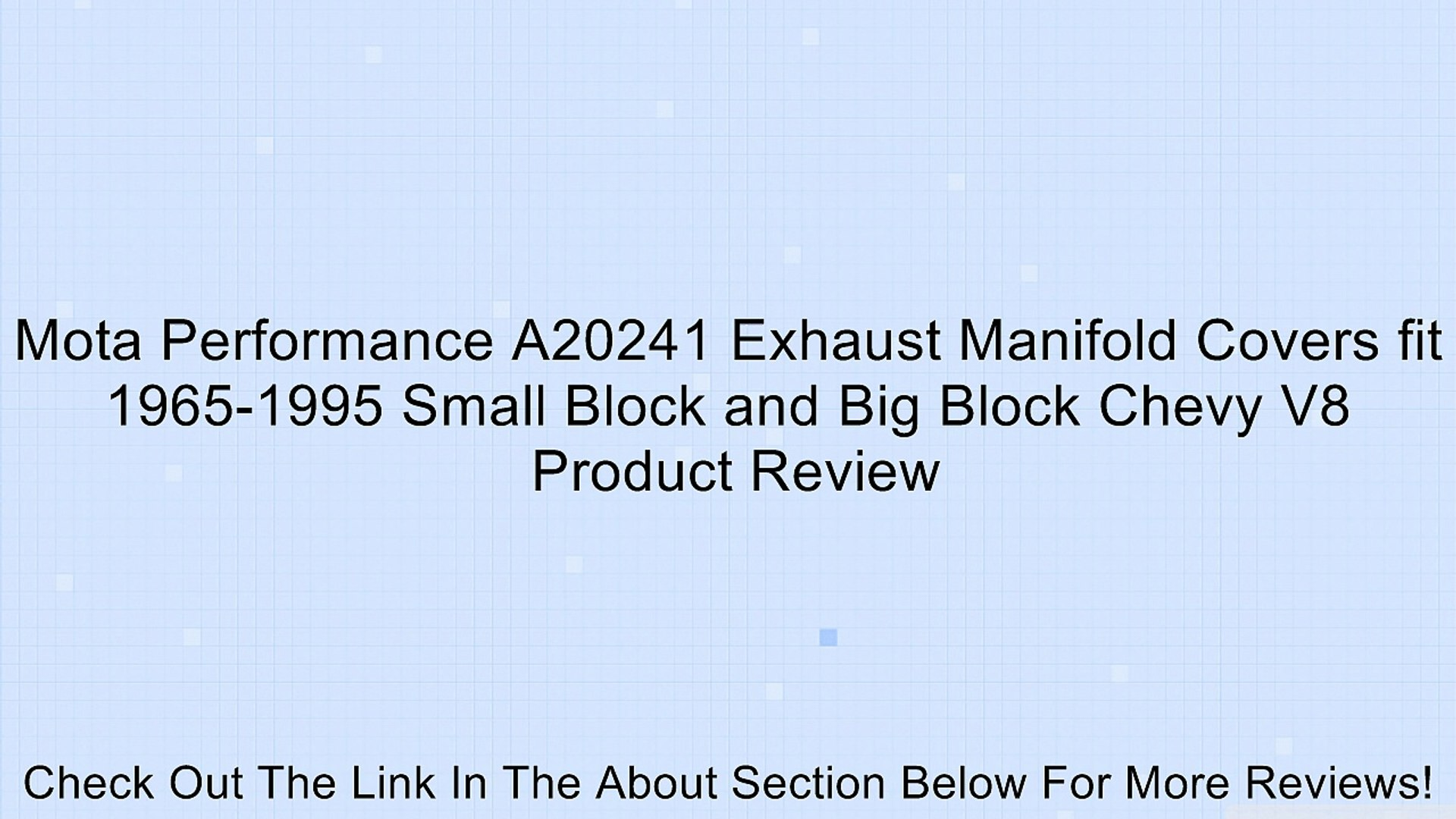 Mota Performance A20241 Exhaust Manifold Covers fit 1965-1995 Small Block and Big Block Chevy V8