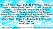 iPhone 6 Battery Case, ZVOLTZ ZT6 iPhone 6 Battery Case (4.7 Inches) [Silver/Clear] - 3100mAh [Apple MFI Certified] - External Protective iPhone 6 Charger Case / iPhone 6 Charging Case Extended Backup Battery Pack Cover Case Fit with Any Version of Apple