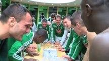 La joie des Verts après ASSE - Lorient (2-0)