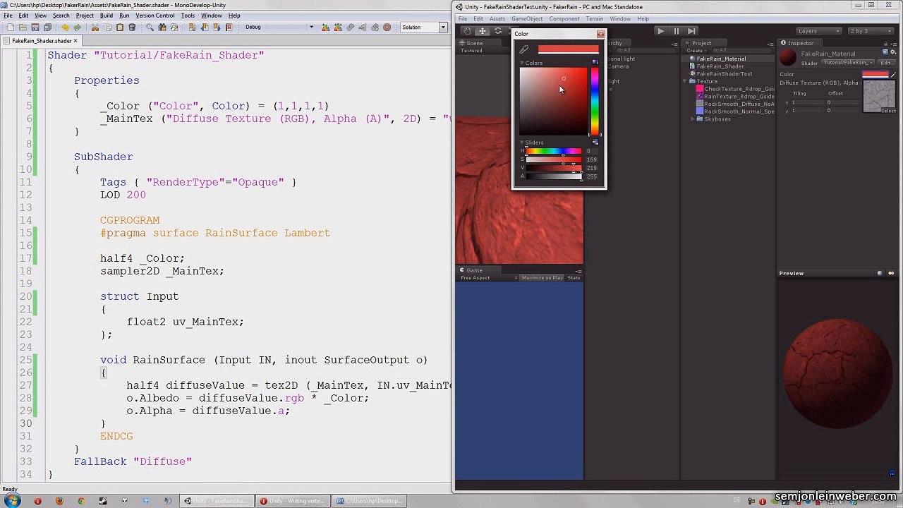 Fake rain surface shader Tutorial with 3D Unity basics
