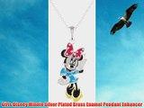 Girls Disney Minnie Silver Plated Brass Enamel Pendant Enhancer