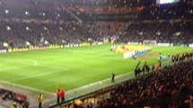 Celtic FC fans singing you'll never walk alone at Celtic Park, against Inter Milan. The volume is outstanding