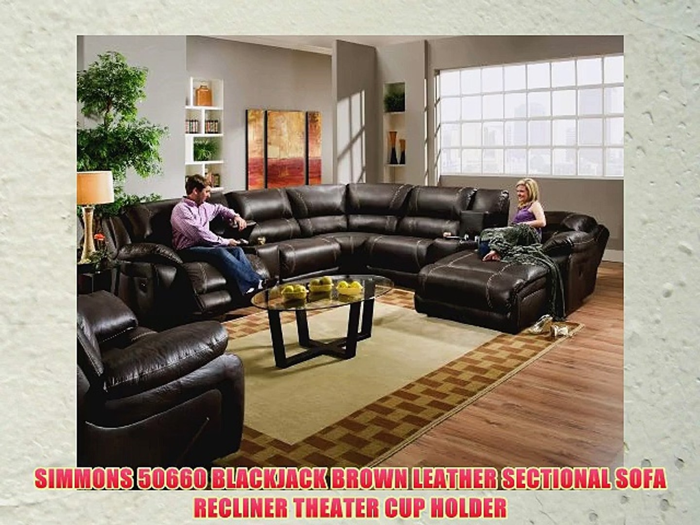 Surprising Simmons 50660 Blackjack Brown Leather Sectional Sofa Recliner Theater Cup Holder Pabps2019 Chair Design Images Pabps2019Com