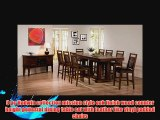9 pc Hadwin collection mission style oak finish wood counter height pedestal dining table set