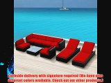 Luxxella Outdoor Patio Wicker BELLA 9 Pc Red Sofa Sectional Furniture All Weather Wicker Couch