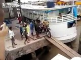 Some time a small mistake become to much wrong. Motorcycle fell down into the sea.
