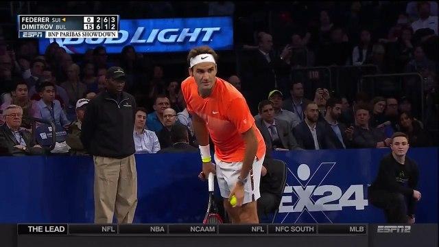 Young Fan Beats Roger Federer On Overhead Lob