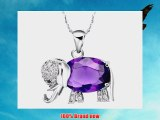 leaf heart 18K white gold plated Super Flash Austrian amethyst diamond elephant Silver Necklace(185)