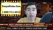 Baylor Bears vs. West Virginia Mountaineers Free Pick Prediction NCAA Big 12 Tournament College Basketball Odds Preview 3-12-2015