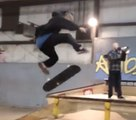 Huge kickflip over a funbox!