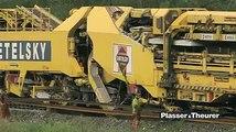 A Machine creating railway track huge project with huge machine