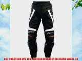 RST TRACTECH EVO 1031 LEATHER MOTORCYCLE JEANS WHITE 38