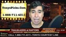 Toronto Raptors vs. Portland Trailblazers Free Pick Prediction NBA Pro Basketball Odds Preview 3-15-2015