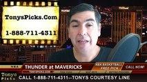 Dallas Mavericks vs. Oklahoma City Thunder Free Pick Prediction NBA Pro Basketball Odds Preview 3-16-2015