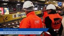 Paris: Les ouvriers à pied d'oeuvre à Gare de l'Est en pleine nuit