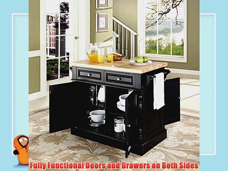 Crosley Furniture Butcher Block Top Kitchen Island In Black