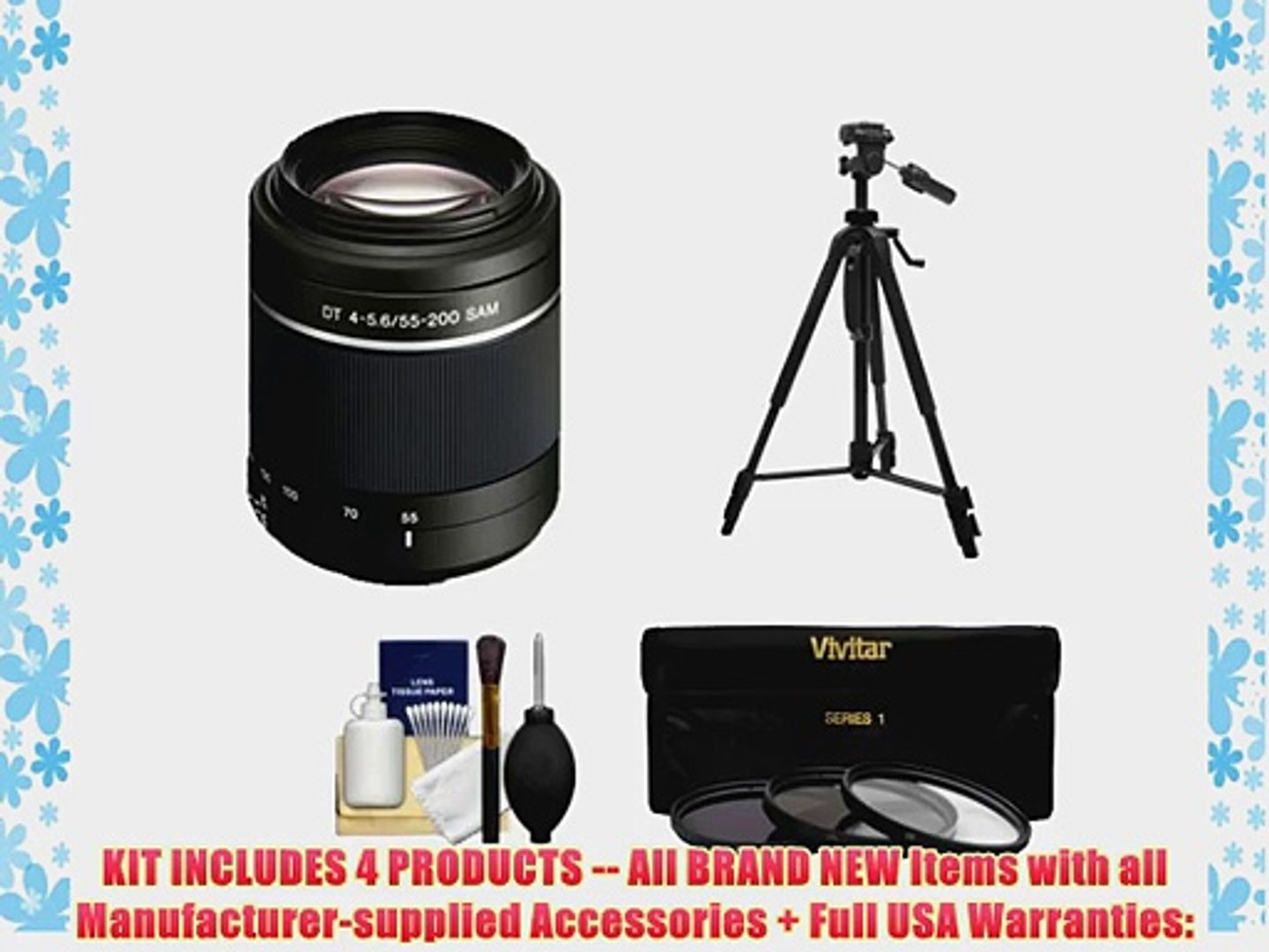 DavisMAX 55mm UV Filter for Sony Alpha SLT-A57 with Sony 35mm f//1.8 DT Prime Lens Fibercloth Filter Bundle