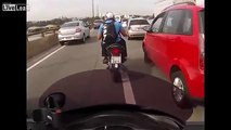 LiveLeak - Motorcyclists Chase Car Driver for Beating After Traffic Altercation