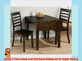 Jofran 3 Piece Drop Leaf Slat Back Dining Set in Taylor Cherry