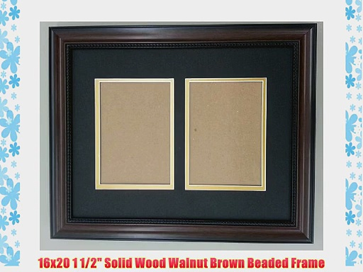 16×20 Walnut Brown Beaded Frame with Black