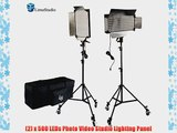 LimoStudio 2 Pcs Dimmable 500 LED Photography Photo Video light Panel LED lighting Kit with